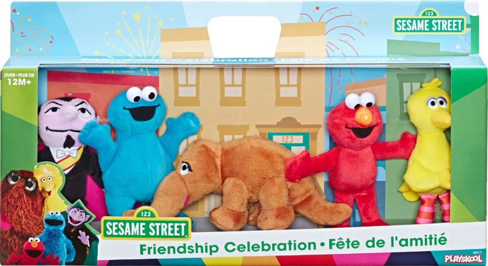 Sesame Street plush characters in a box