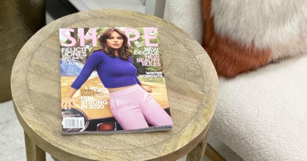 Shape Magazine on side table