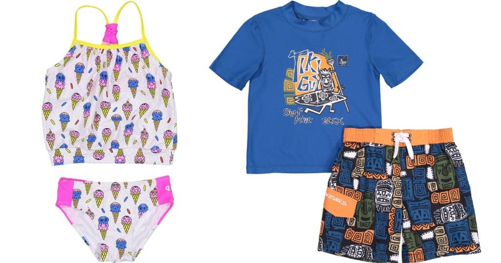 girls and boys Skechers swim sets