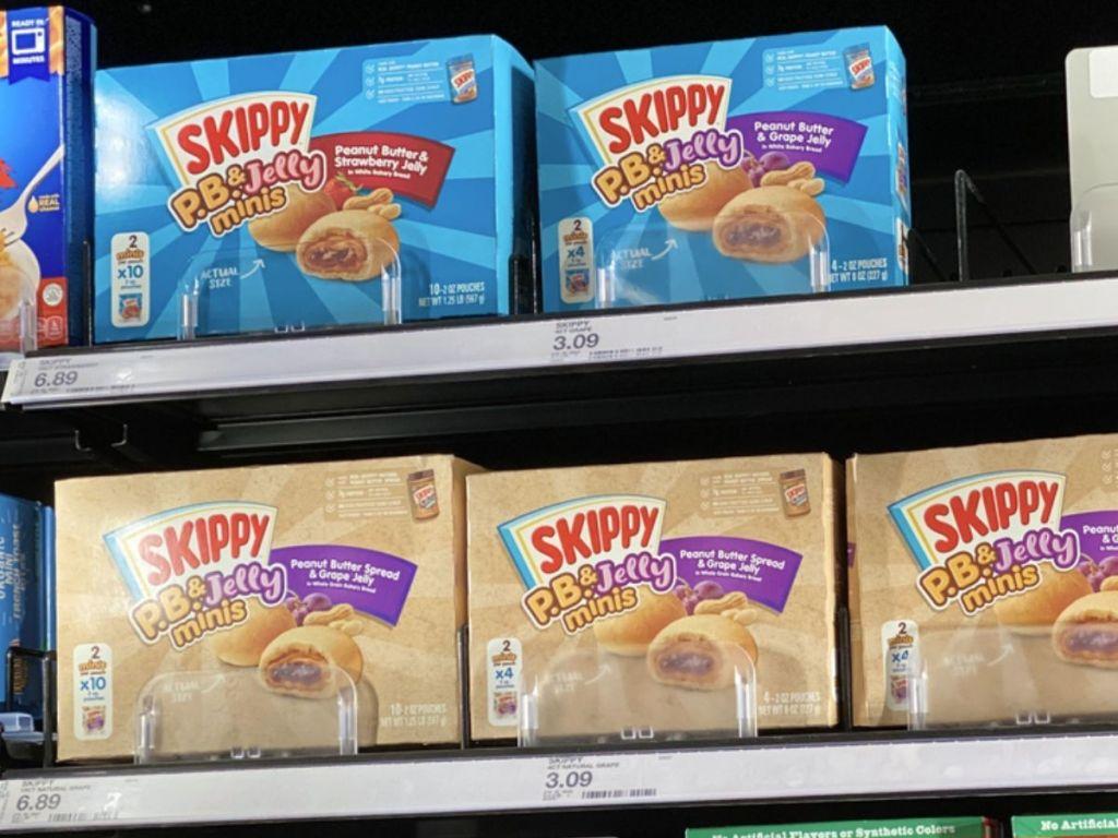 target freezer shelf with Skippy P.B. & J Minis Snacks