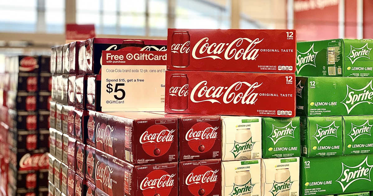 coca-cola, cherry coke, sprite 12-packs at Target with sale sign