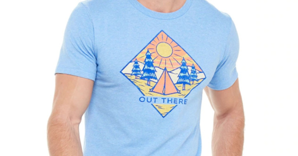 Mens blue outdoors graphic tee