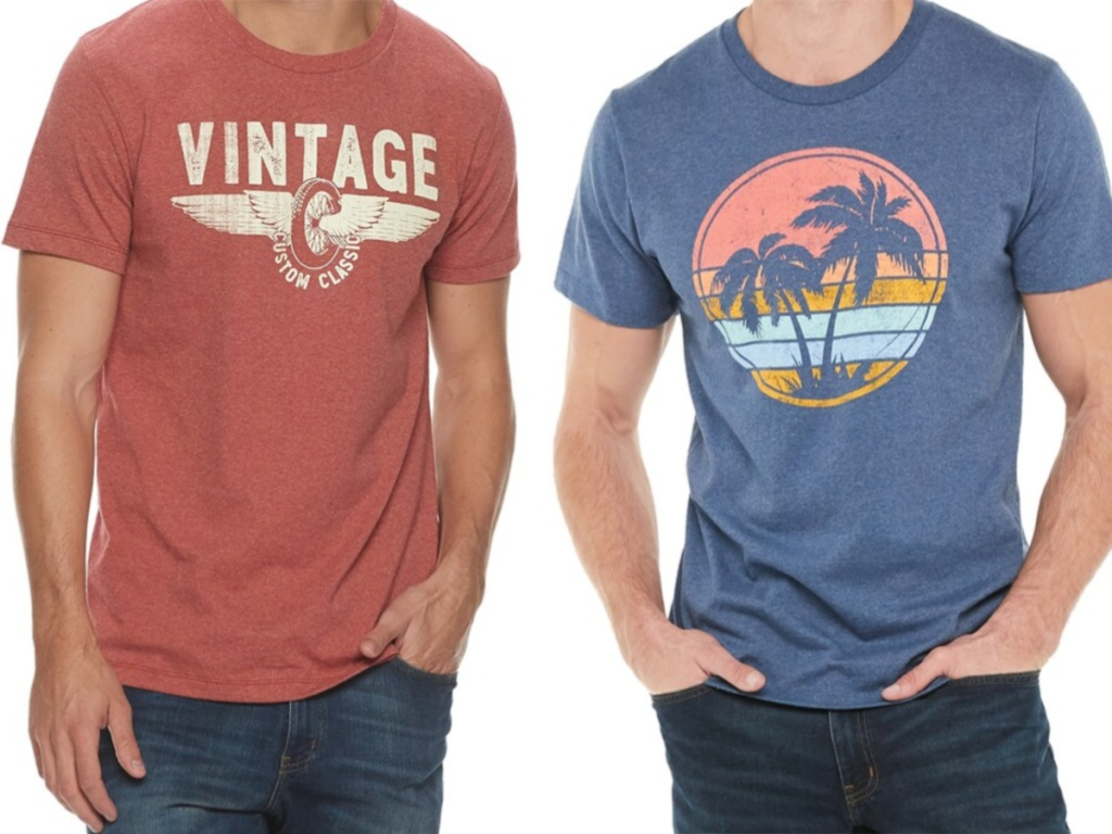 Two mens graphic tees