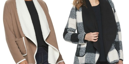 SONOMA Sherpa Cardigan as Low as $12 (Regularly $50) + Free Shipping for Kohl's Cardholders