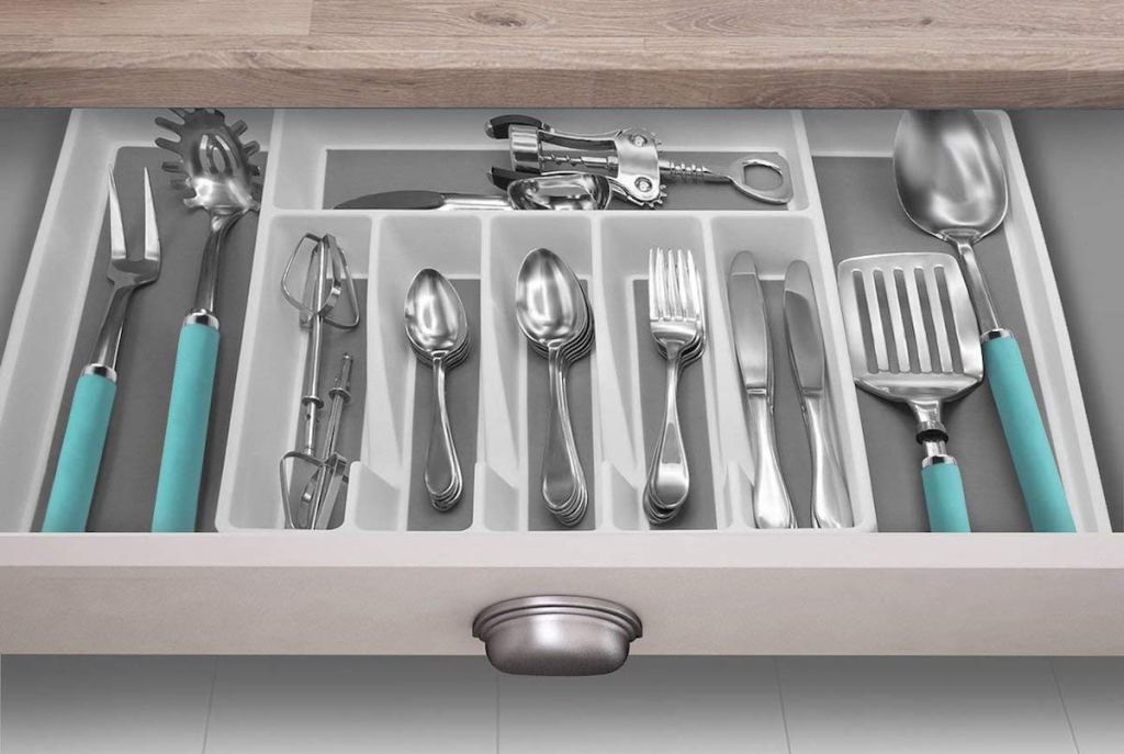 kitchen drawer with organizer and cutlery