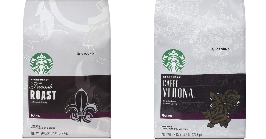 Two bags of Starbucks Coffee. One is French Roast, one is Cafe Verona