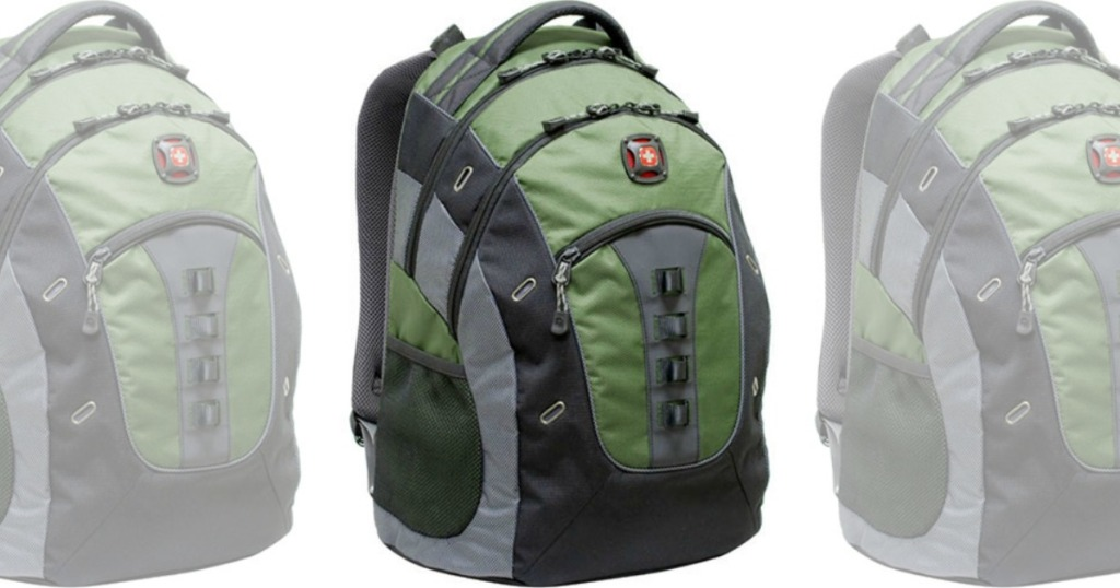 3 views of green and black backpack