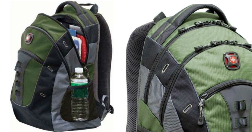side and top corner view of green and black Swissgear laptop backpack