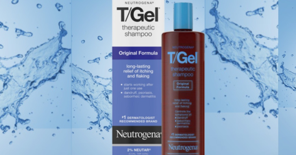 t/gel shampoo box and bottle with water splashes in background
