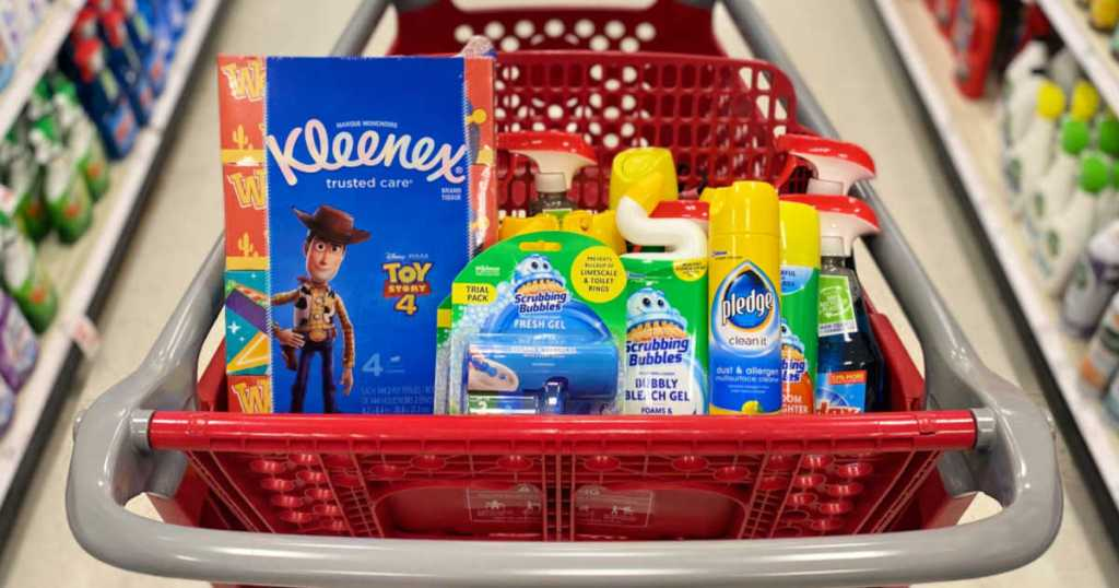 Target shopping cart with Kleenex, scrubbing bubbles, and windex products