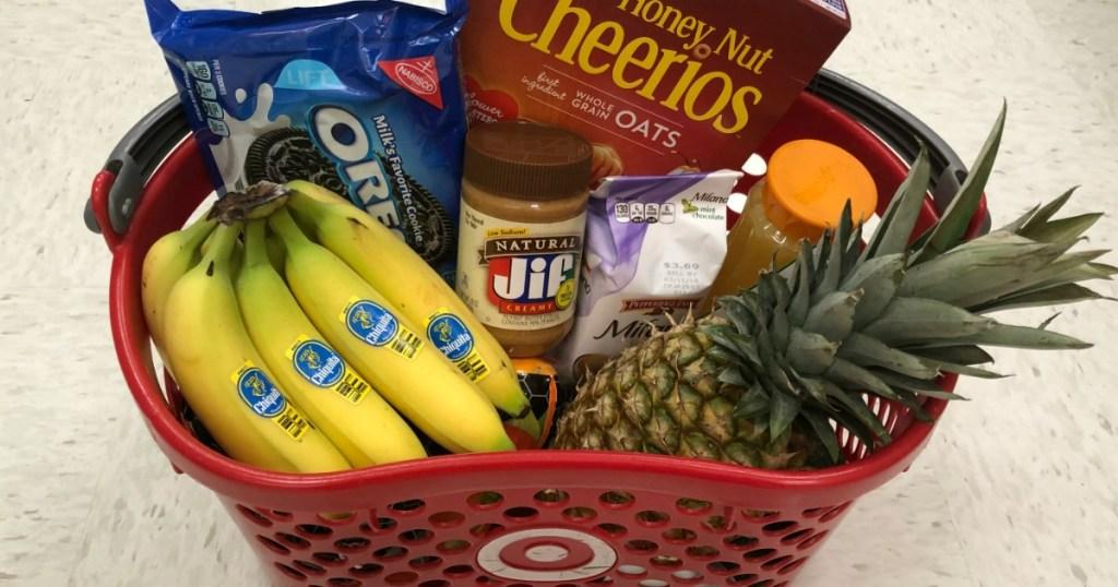Target basket full of groceries