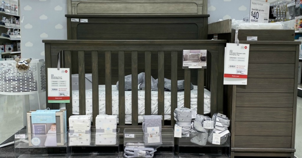 crib surrounded by baby items at Target