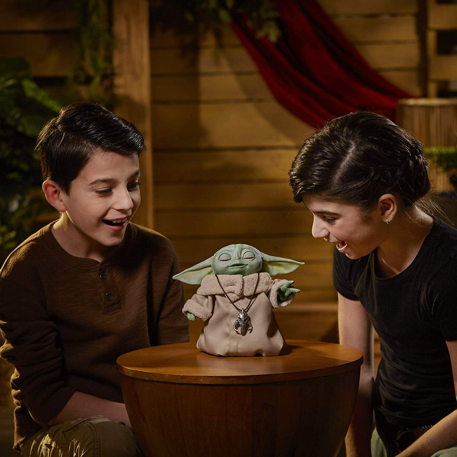 The Child Animatronic Using the Force with kids watching