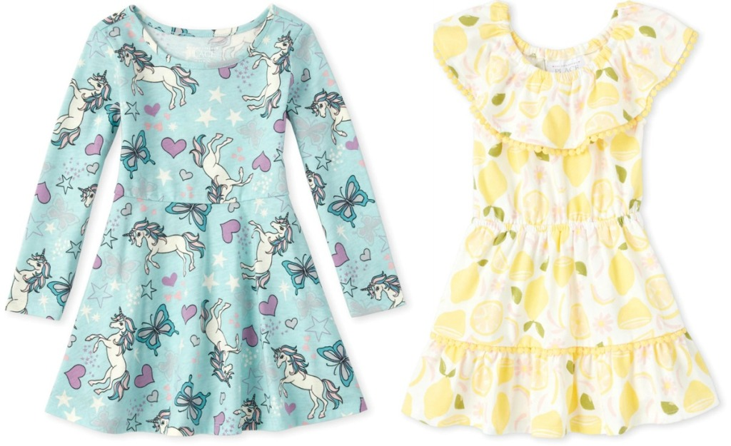Two styles of girls dresses from The Children's Place