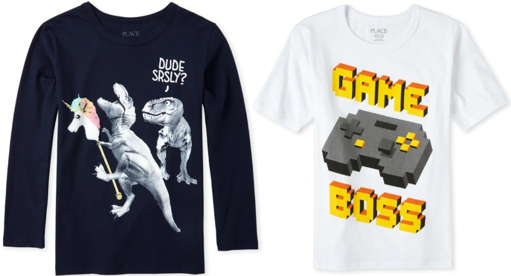 Two styles of big kids boys graphic tees - one long sleeve and one short sleeve