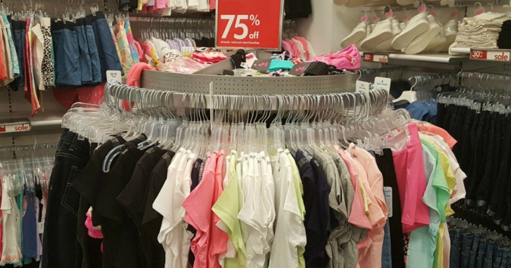 Rack of clearance clothing inside The Children's Place