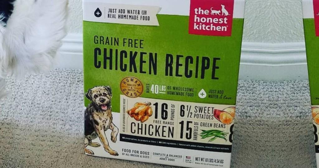 box of The Honest Kitchen Human Grade Dehydrated Grain Free Dog Food on carpet floor