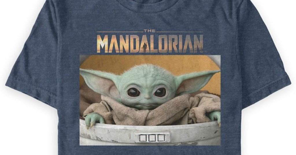 The Mandalorian tee with baby yoda on it