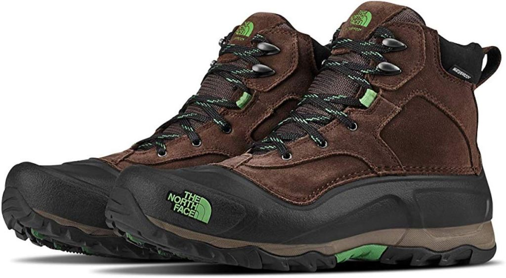 brown, black, and green The North Face Men's Snowfuse Waterproof Boot
