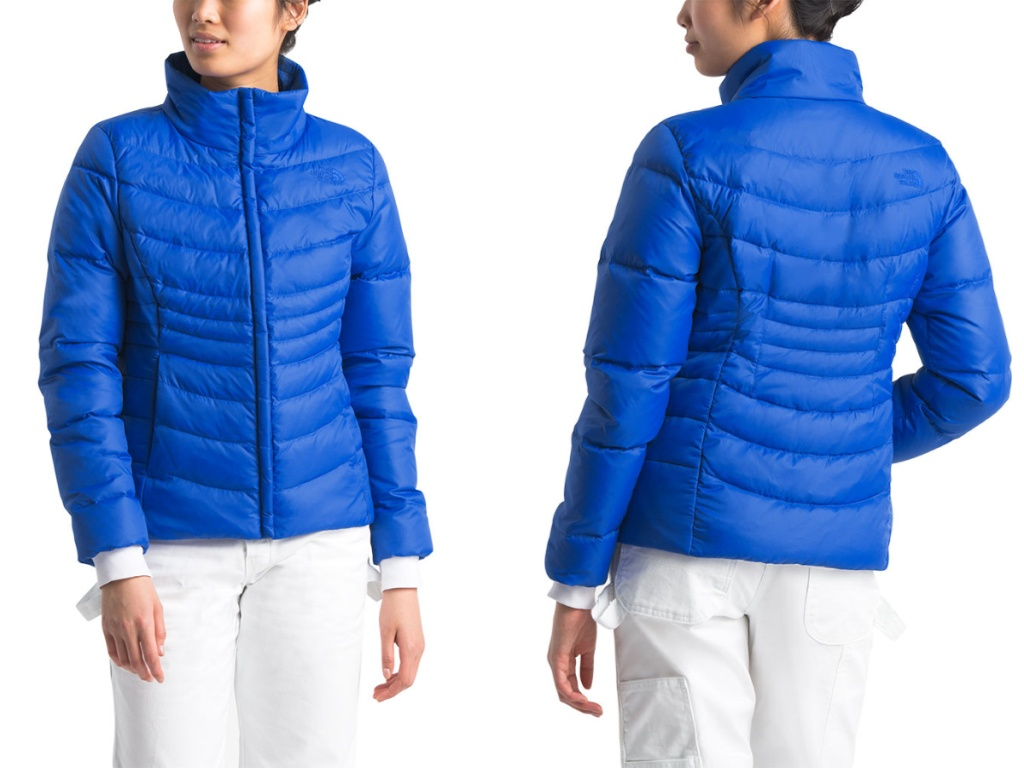 woman wearing blue The North Face Women's Aconcagua Jacket II