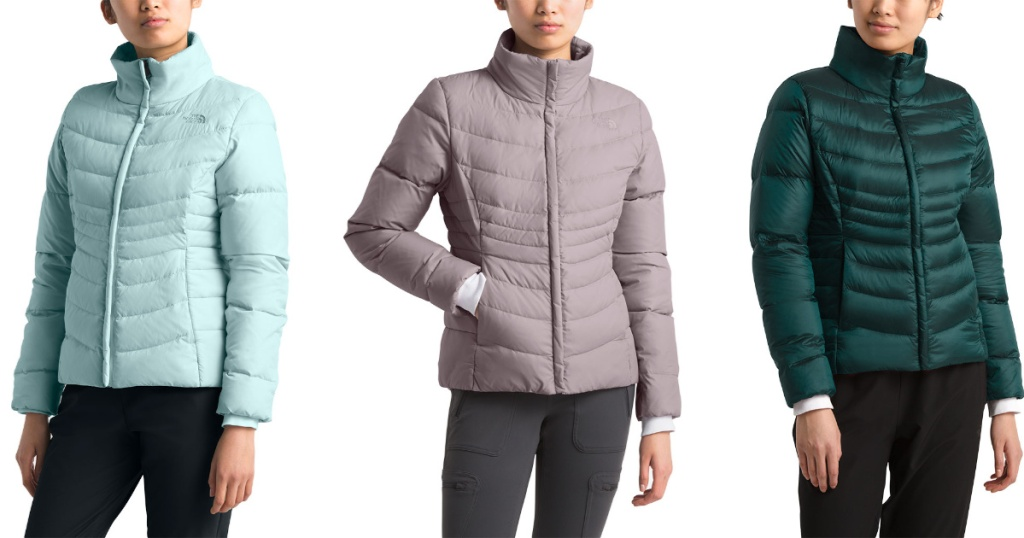 women wearing blue, mauve, and green The North Face Women's Aconcagua Jacket II