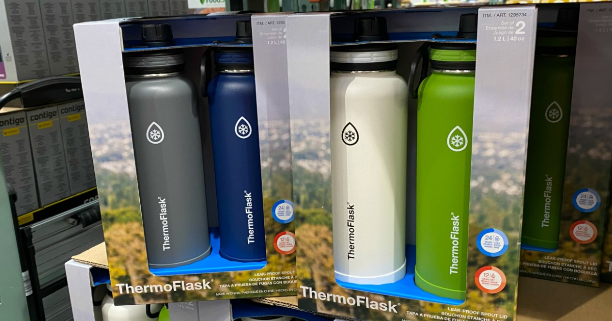 Thermoflasks 2-packs on boxes on shelf