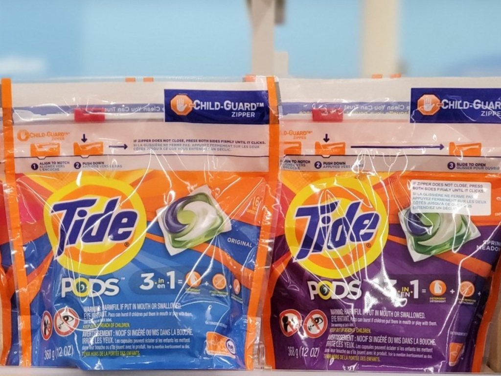Laundry detergent pods on store shelf