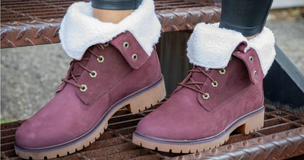 Timberland Jayne Fleece Boots up close