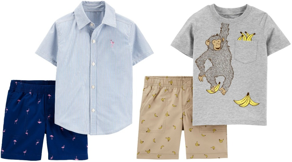 Two styles of boys outfits with shorts and a top