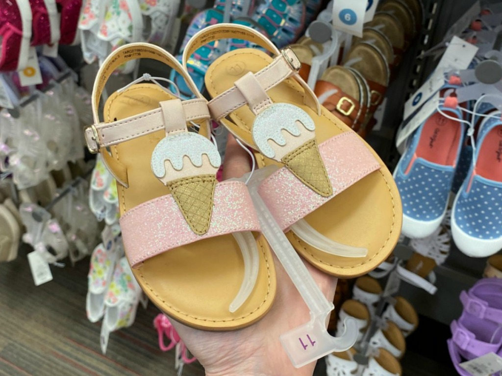 Ice cream cone themed toddler sandals in pair, in hand, in-store