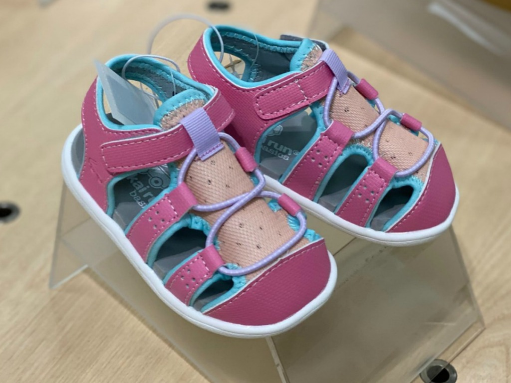 Toddler girls sandal shoes in pink with blue