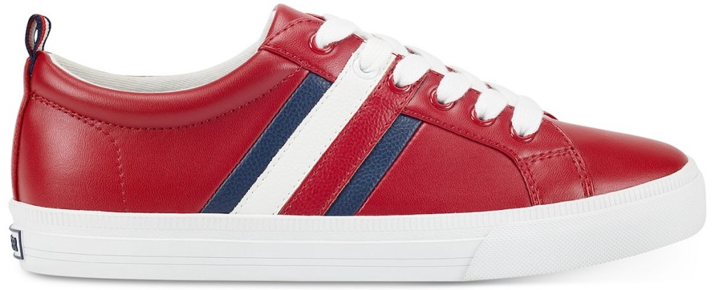 one red, white and blue sneaker