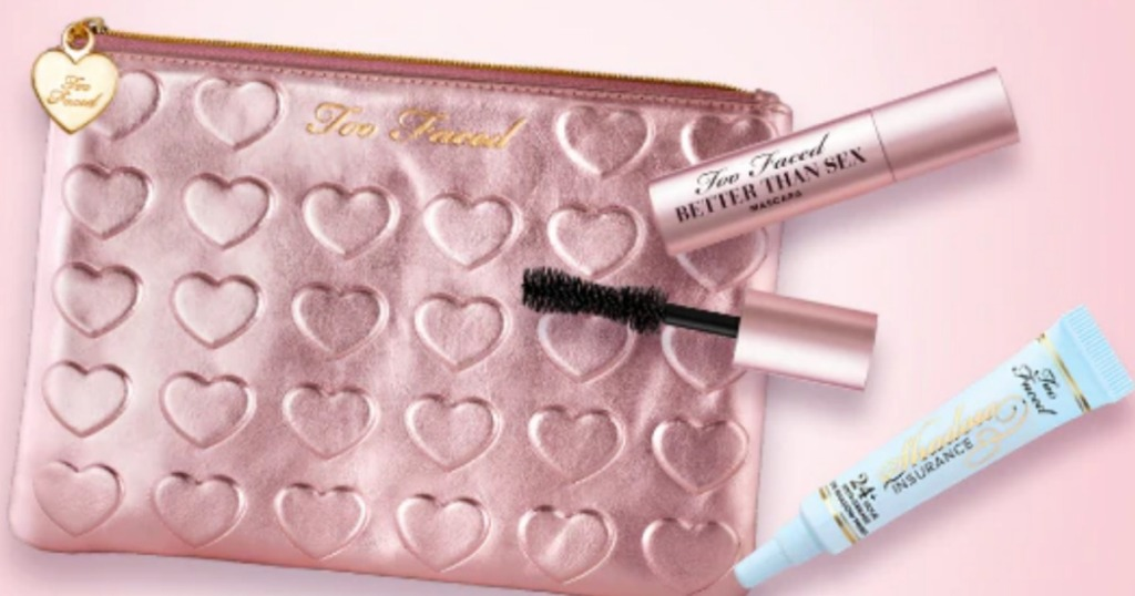 Too Faced heart Makeup Bag with mascara