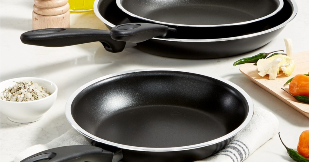 fry pans on table