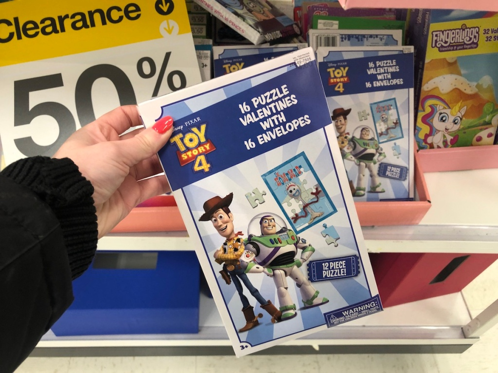 hand holding box of Toy Story 4 Valentine's