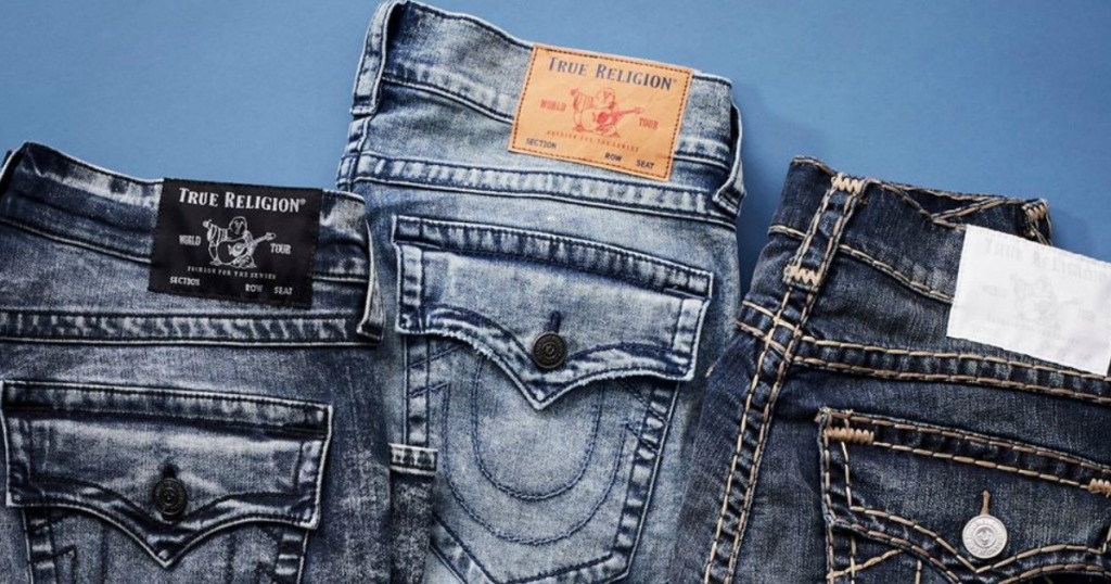True Religion jeans in a row