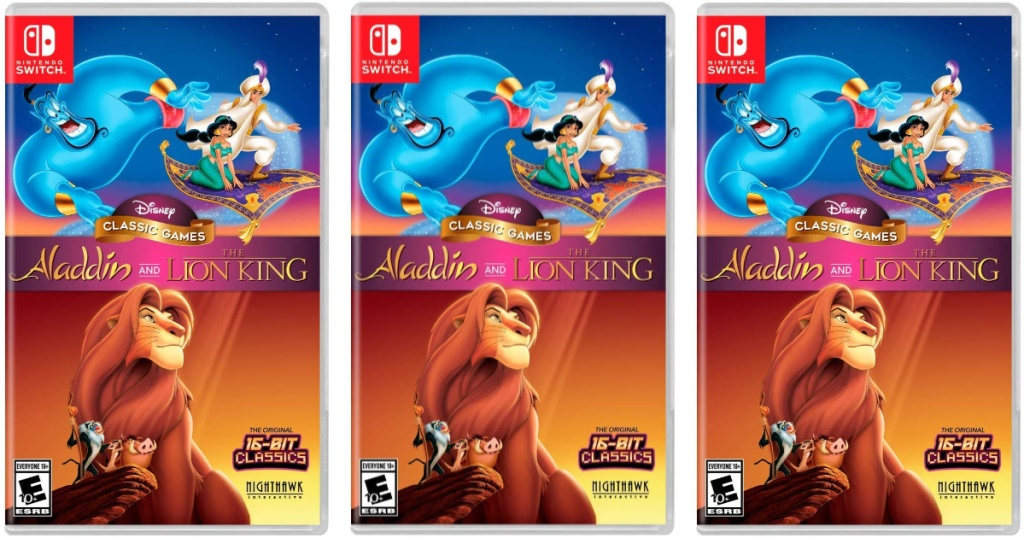 product display aladdin and lion king games nintendo switch