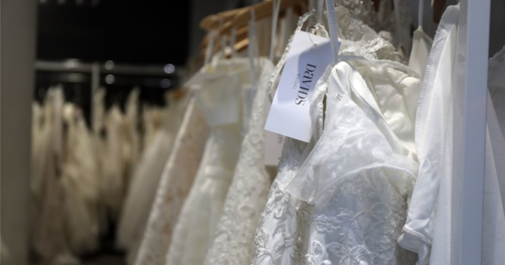 davids bridal wedding dresses on rack