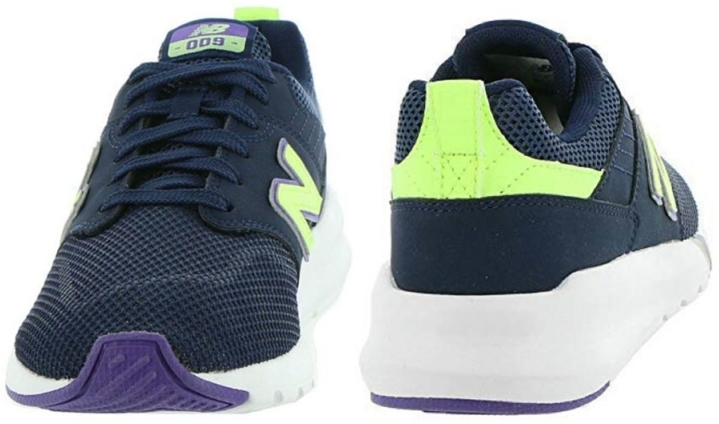 womens running sneakers one facing front and one turned towards the back