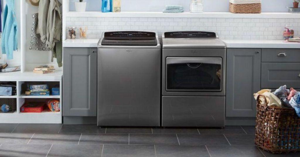 mwashing machine and dryer in laundry room