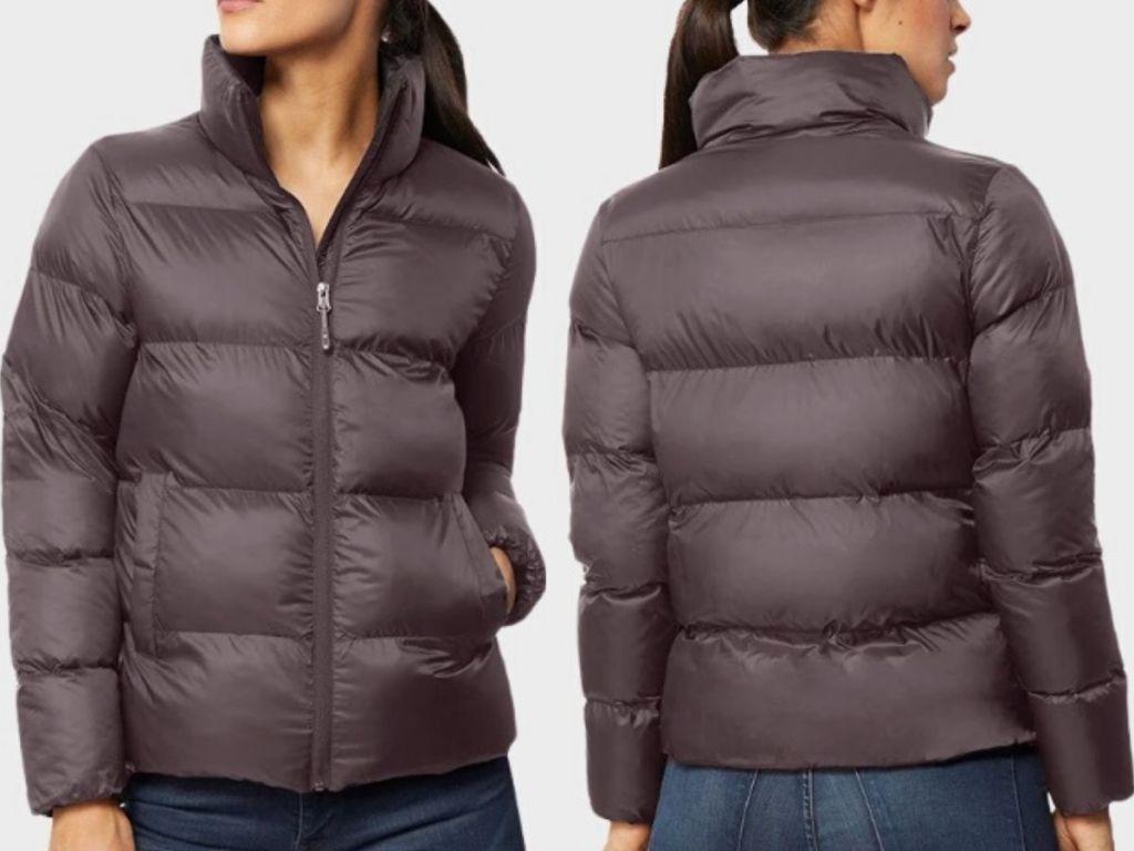 women's torso wearing a puffer jacket