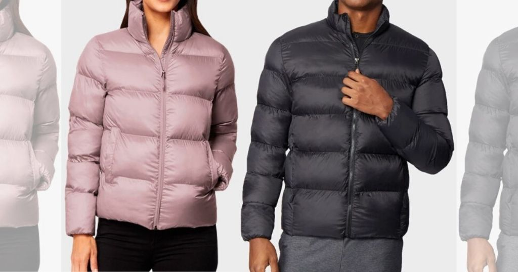 woman's and man's torso wearing puffer jackets