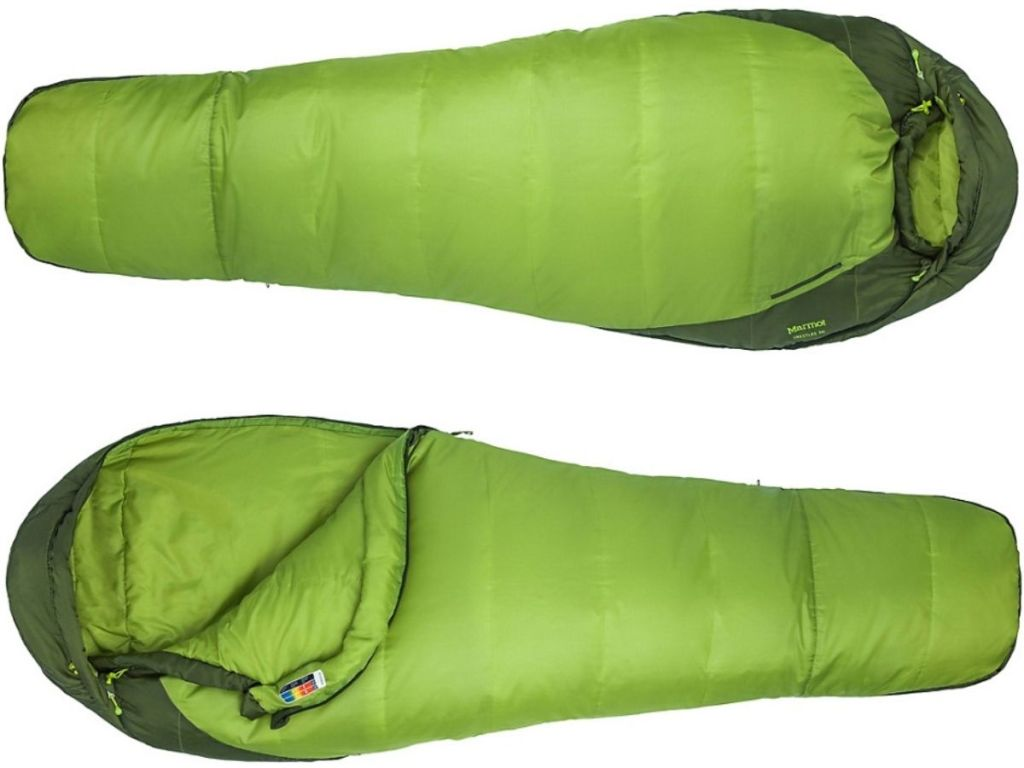 twp sleeping bags laying horizontally with one partially unzipped displaying inside