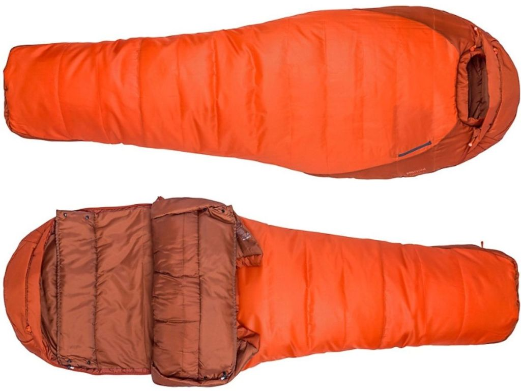 two horizontal sleeping bags with on unzippered displaying the inside