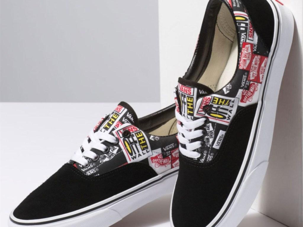 Black patterned skate shoes