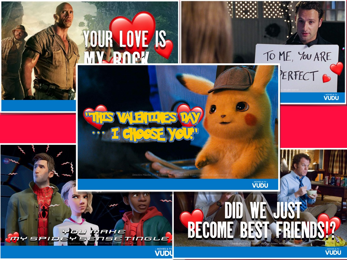 Five different movie themed valentine's day cards