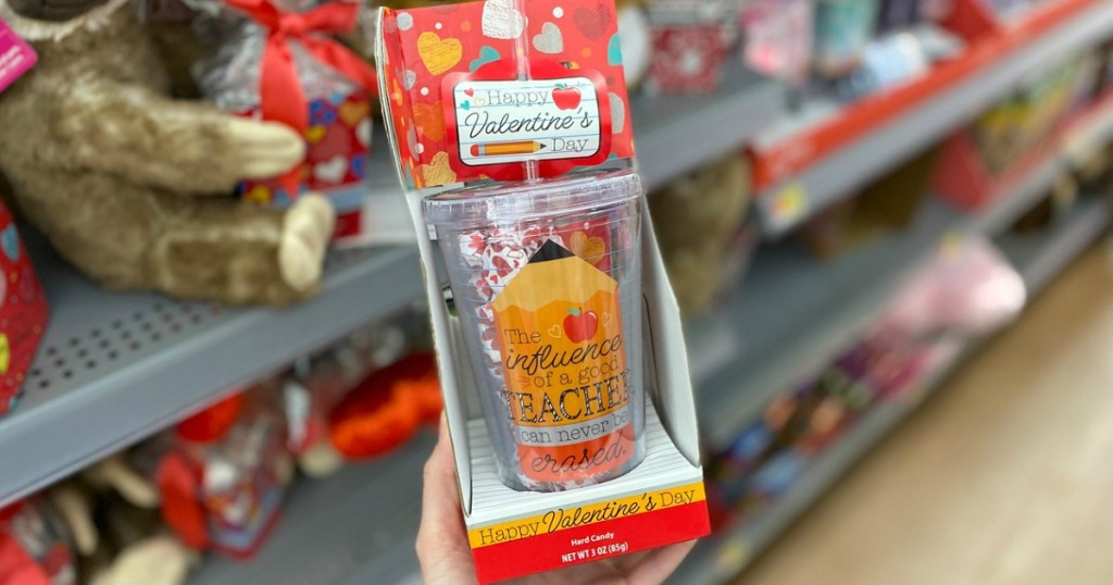 woman holding Valentine Teacher Tumbler Filled with Candy