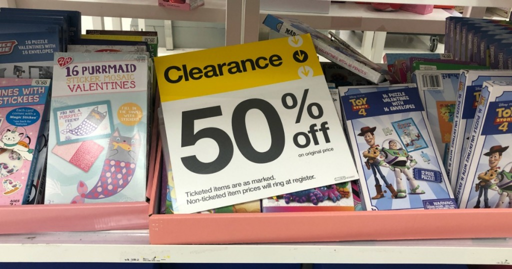 boxes of Valentines at Target with clearance sign