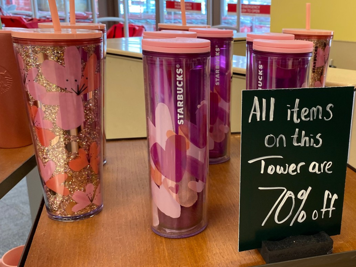 Starbucks clearance Valentine's Day mugs on table