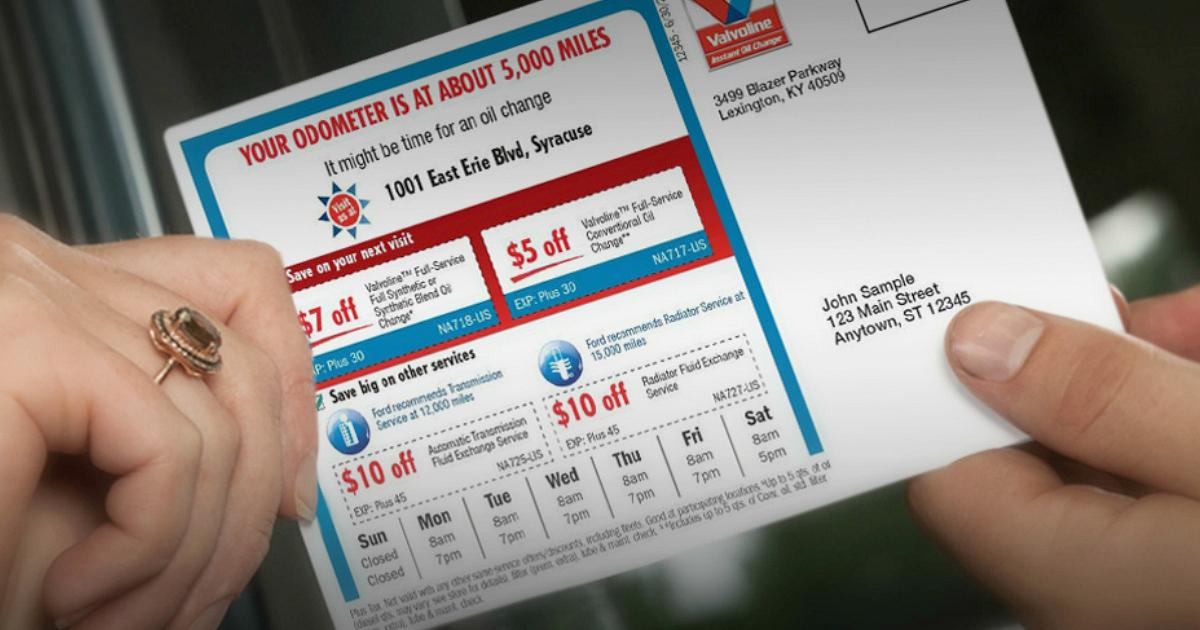 Valvoline oil change coupons